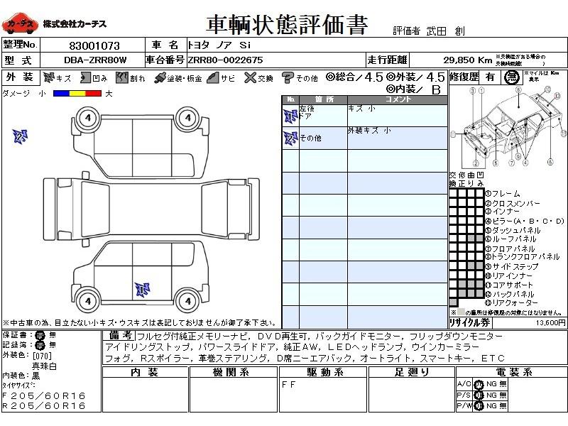 Used 2014 CVT Toyota Noah DBA-ZRR80W Image[3]