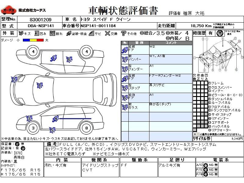 Used 2015 CVT Toyota Spade DBA-NSP141 Image[3]