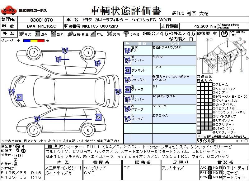 Used 2015 CVT Toyota Corolla Fielder DAA-NKE165G Image[3]